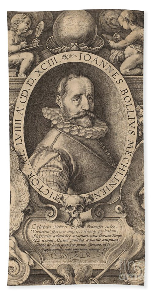 Hand Towel featuring the drawing Hans Bol by Hendrik Goltzius