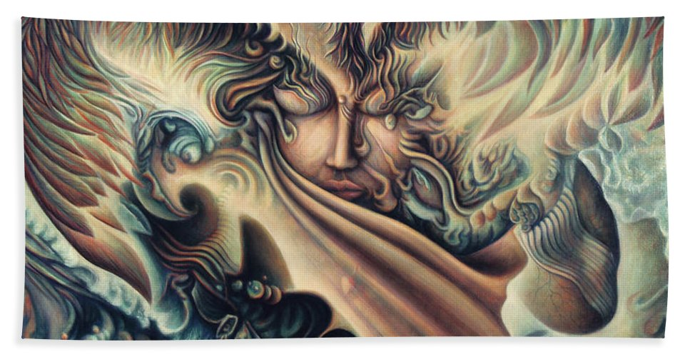 Spiritual Hand Towel featuring the painting Hansa Swann by Nad Wolinska