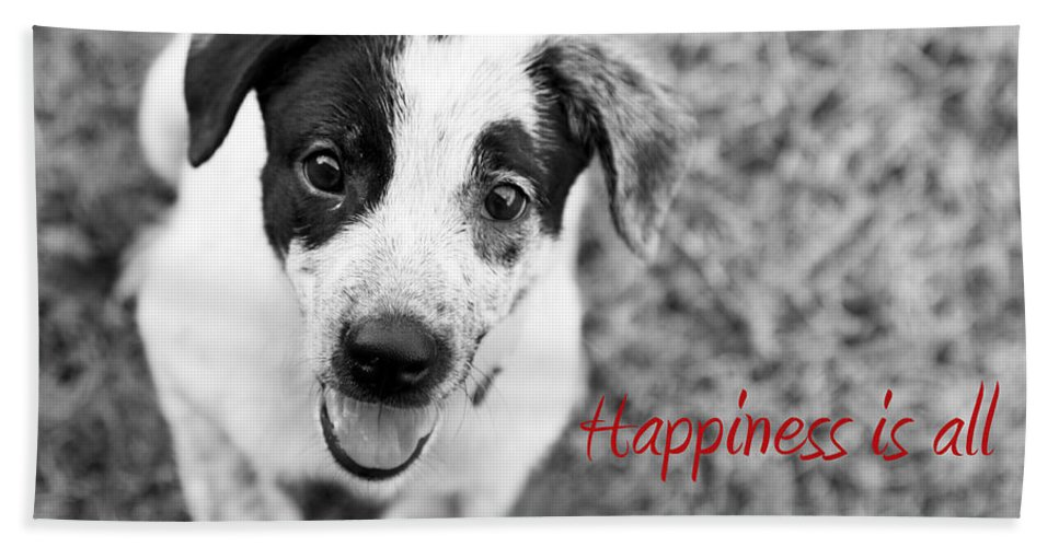 Puppy Hand Towel featuring the photograph Happiness Is All Around Me by Amanda Barcon