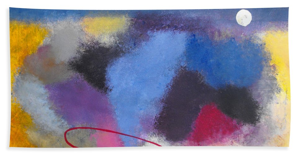 Color Bath Sheet featuring the painting Happiness by Ruth Palmer