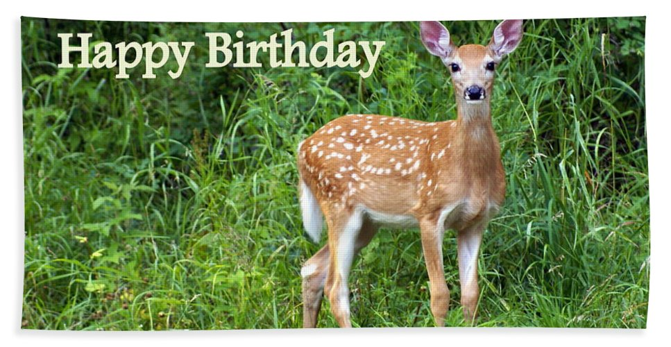 Happy Birthday Hand Towel featuring the greeting card Happy Birthday 1 by Marty Koch