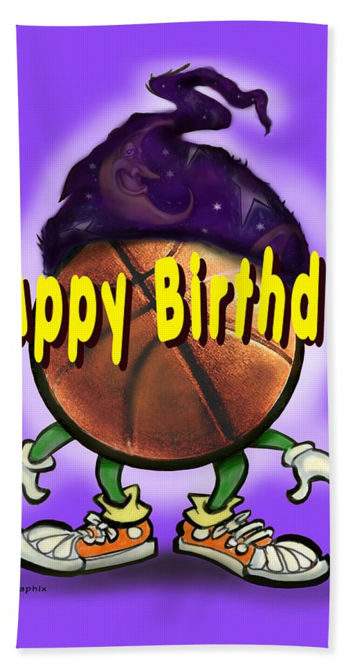 Happy Birthday Hand Towel featuring the greeting card Happy Birthday Basketball Wiz by Kevin Middleton