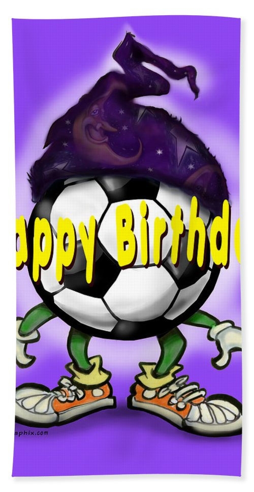 Soccer Bath Sheet featuring the greeting card Happy Birthday Soccer Wizard by Kevin Middleton