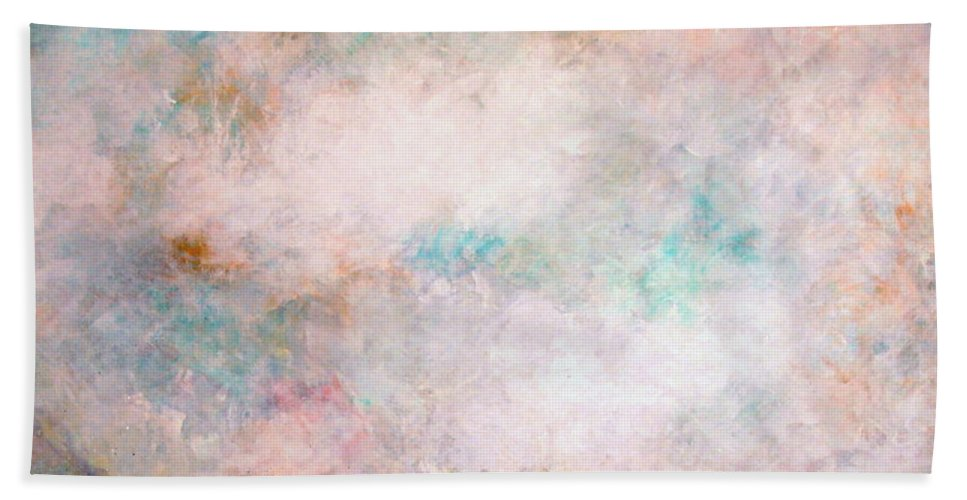 Clouds Bath Towel featuring the painting Happy Dancing Clouds by Natalie Holland