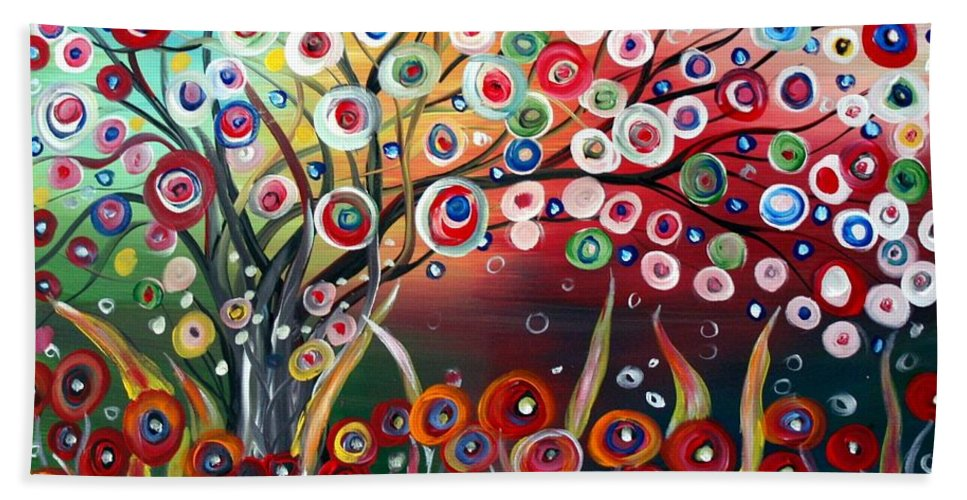 Landscape Bath Sheet featuring the painting Happy Days by Luiza Vizoli