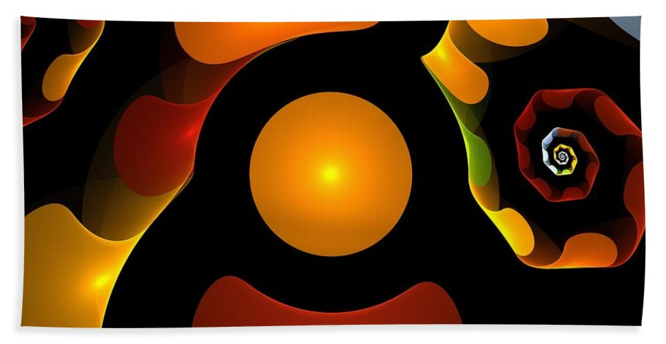 Abstract Hand Towel featuring the painting Happy Digit by Steve K