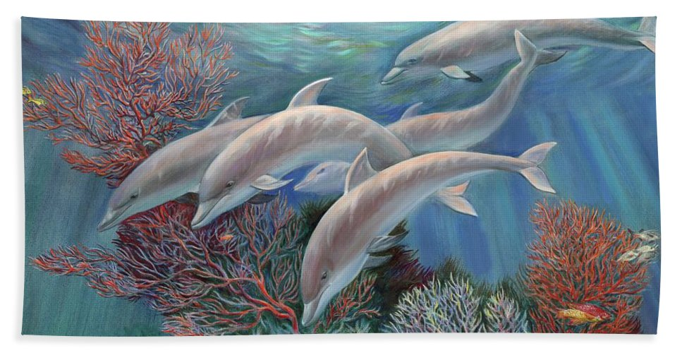 Dolphin Hand Towel featuring the painting Happy Family - Dolphins Are Awesome by Svitozar Nenyuk