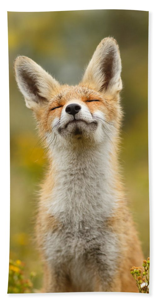 Red Fox Bath Towel featuring the photograph Happy Fox by Roeselien Raimond