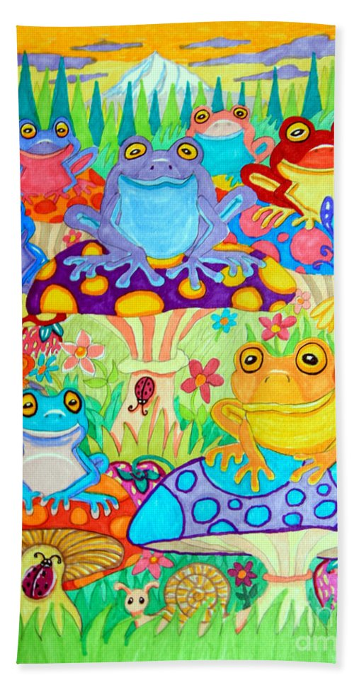 Frog Hand Towel featuring the drawing Happy Frogs In Mushroom Valley by Nick Gustafson