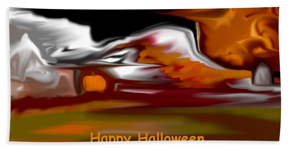 Abstract Digital Painting Bath Sheet featuring the digital art Happy Halloween by David Lane