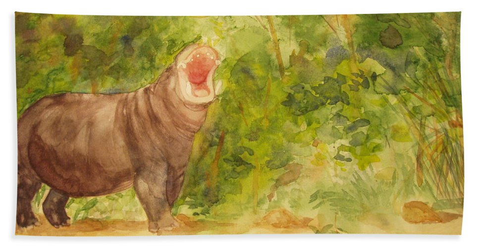 Africa Hand Towel featuring the painting Happy Hippo by Vicki Housel