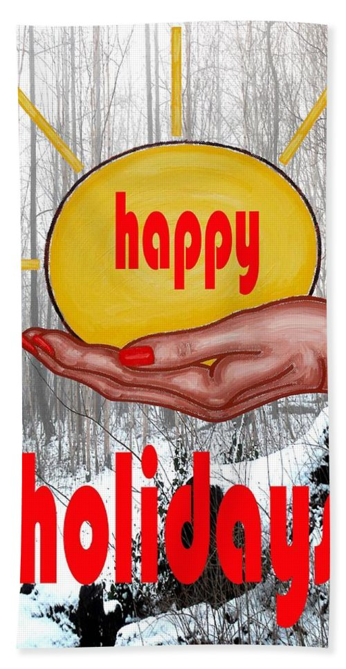 Christmas Bath Sheet featuring the painting Happy Holidays 26 by Patrick J Murphy