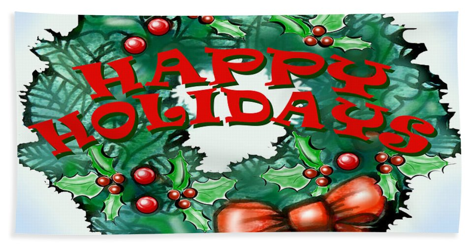 Happy Holidays Bath Sheet featuring the greeting card Happy Holidays by Kevin Middleton
