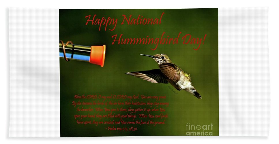 Happy Hand Towel featuring the photograph Happy Hummer Day by Patti Smith