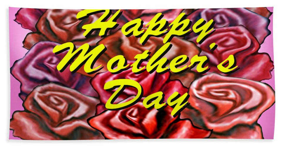 Mom Hand Towel featuring the painting Happy Motherer's Day by Kevin Middleton