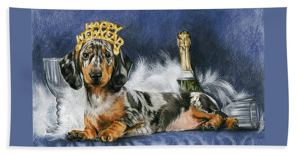 Dogs Hand Towel featuring the mixed media Happy New Year by Barbara Keith
