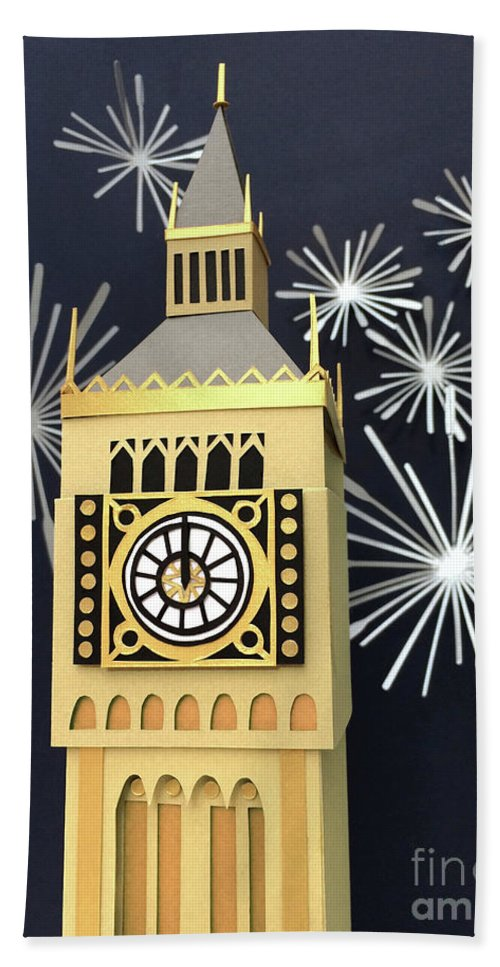 Happy New Year Bath Towel featuring the mixed media Happy New Year by Isobel Barber