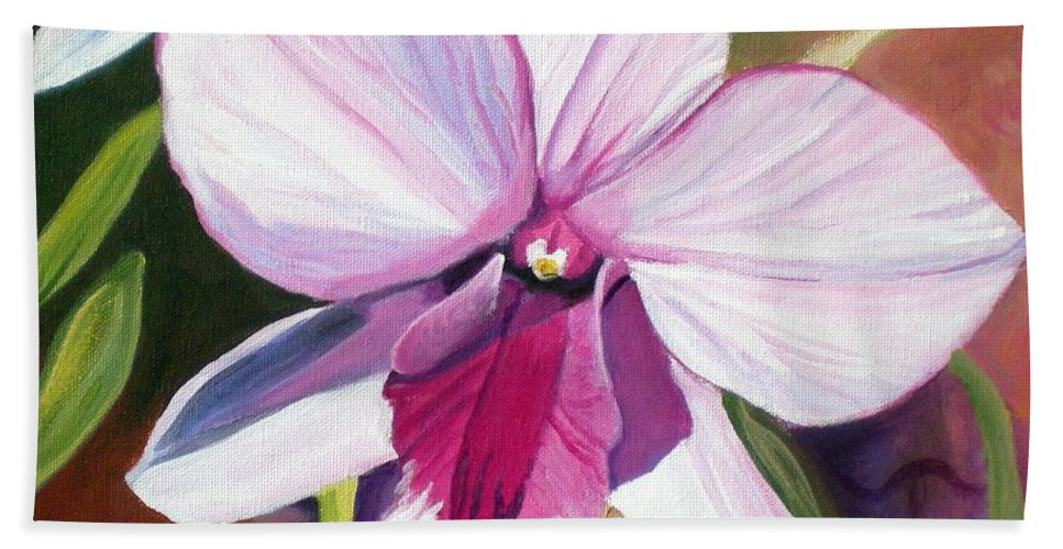 Kauai Hand Towel featuring the painting Happy Orchid by Marionette Taboniar