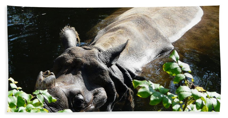 Rhinoceros Unicornis Bath Sheet featuring the photograph Happy Rhino by Valerie Ornstein