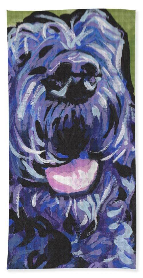 Black Schnoodle Hand Towel featuring the painting Happy Times by Lea