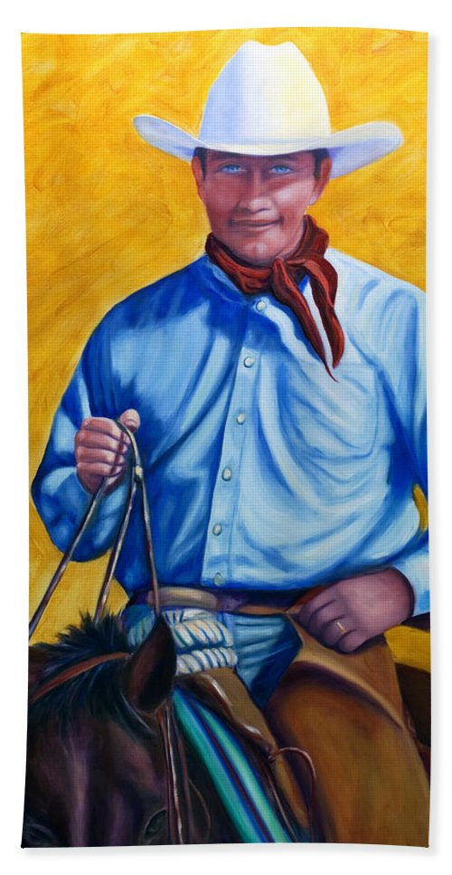 Cowboy Hand Towel featuring the painting Happy Trails by Shannon Grissom