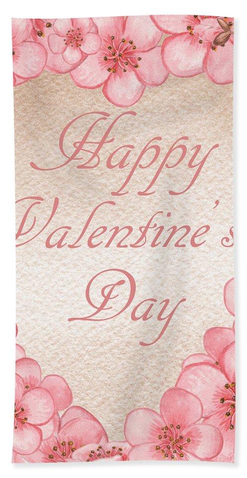 Valentine Day Hand Towel featuring the painting Happy Valentine Pink Heart by Irina Sztukowski