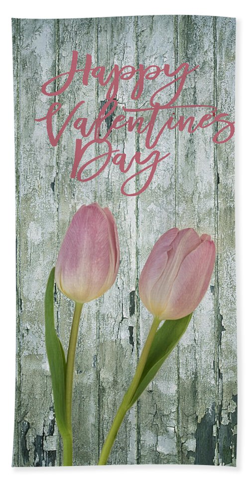 Pink Tulip Hand Towel featuring the photograph Happy Valentines Day by Kim Hojnacki