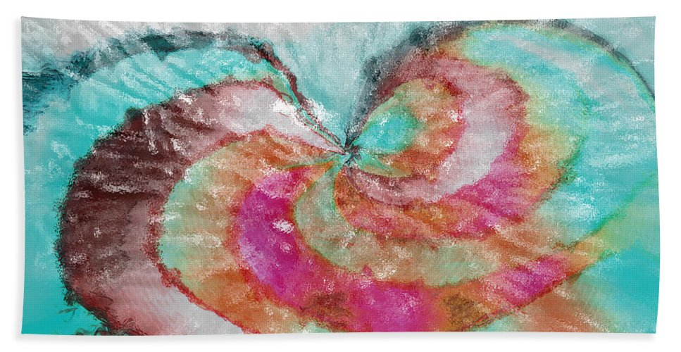 Abstract Art Bath Sheet featuring the digital art Happy Valentine's Day by Linda Sannuti