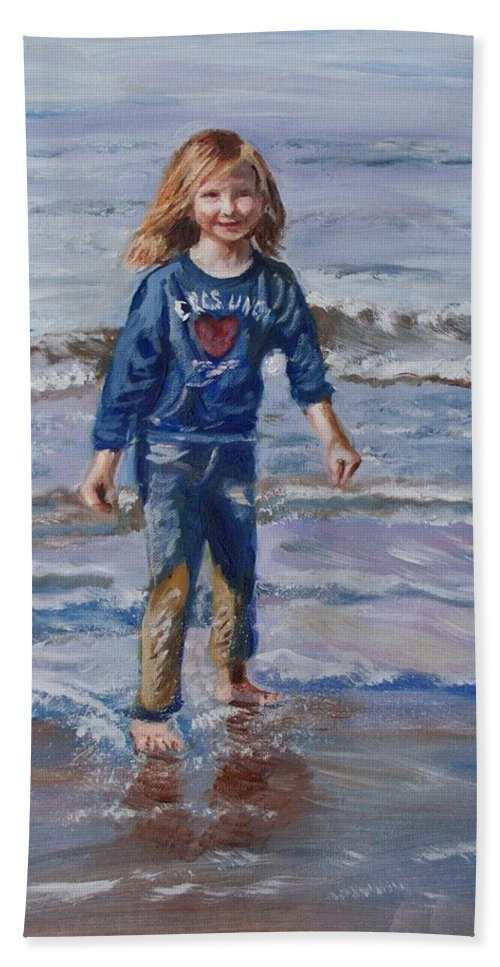 Girl Bath Sheet featuring the painting Happy With Sea And Sand by Elena Sokolova