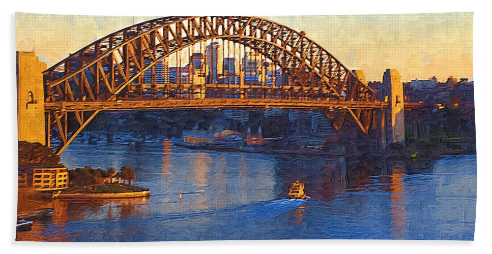Sydney Hand Towel featuring the photograph Harbor Bridge At Sunset by Tom Reynen