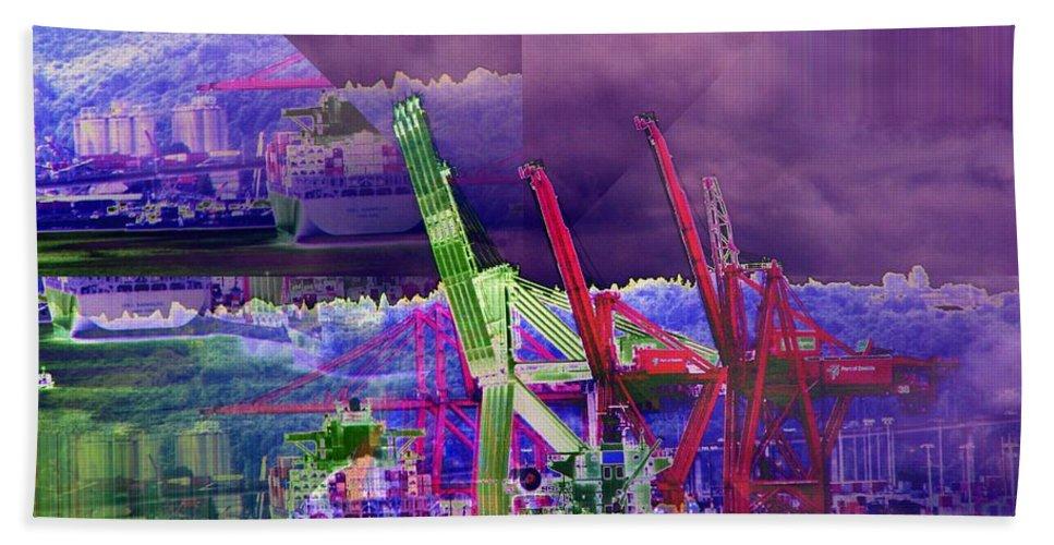 Seattle Bath Sheet featuring the digital art Harbor Island Workhorses by Tim Allen