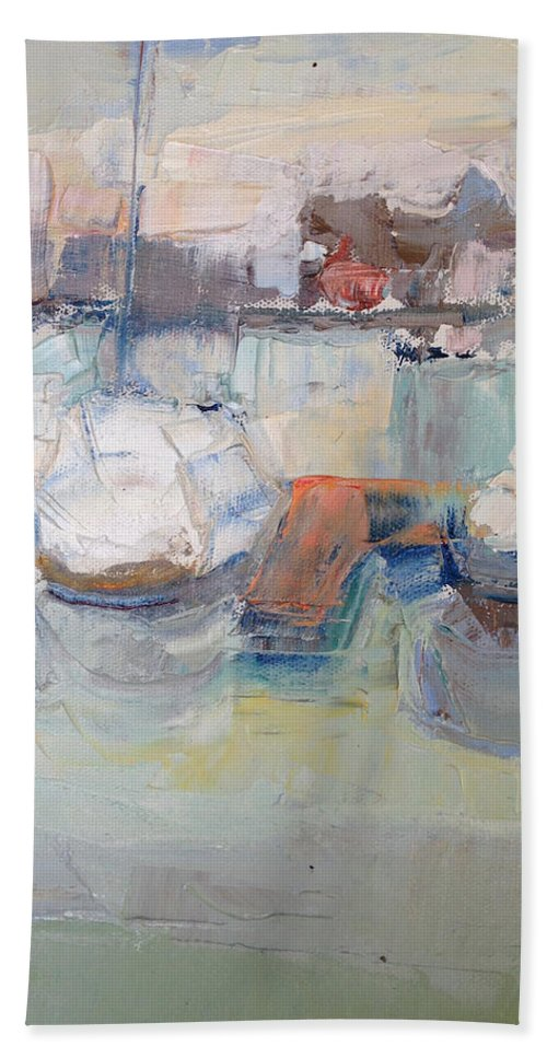Harbor Bath Towel featuring the painting Harbor Sailboats by Suzanne Cerny