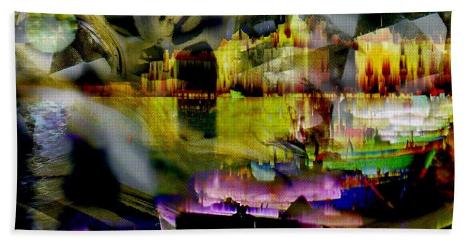 European Bath Sheet featuring the digital art Harbor Scene Through A Vodka Bottle by Seth Weaver
