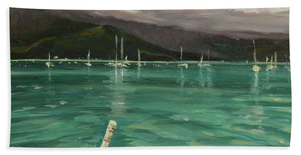 Hanalei Hand Towel featuring the painting Harbor View by Laura Toth