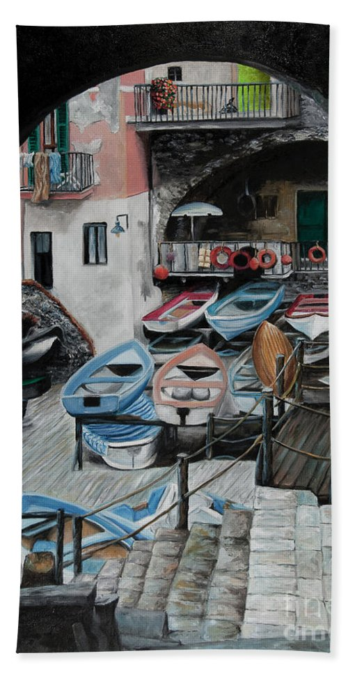 Cinque Terre Bath Towel featuring the painting Harbor's Edge In Riomaggiore by Charlotte Blanchard
