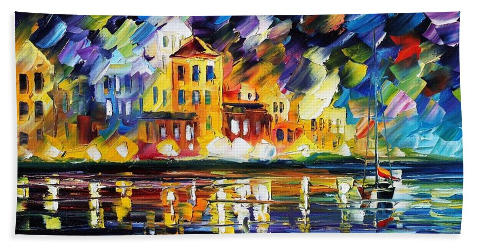 Afremov Bath Towel featuring the painting Harbor's Flames by Leonid Afremov
