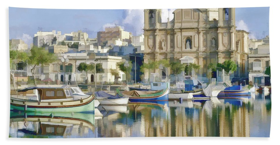 Landscape Hand Towel featuring the painting Harborside Msida Malta by Dean Wittle