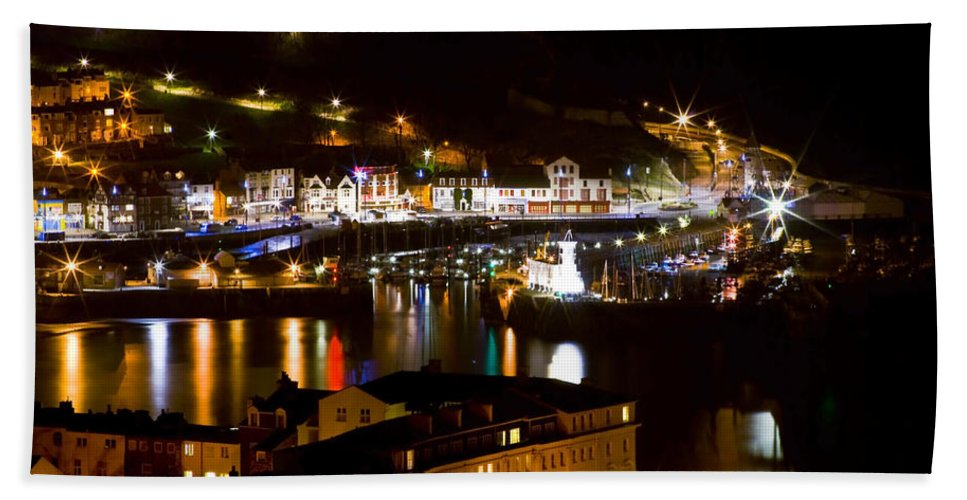 Beach Hand Towel featuring the photograph Harbour At Night by Svetlana Sewell