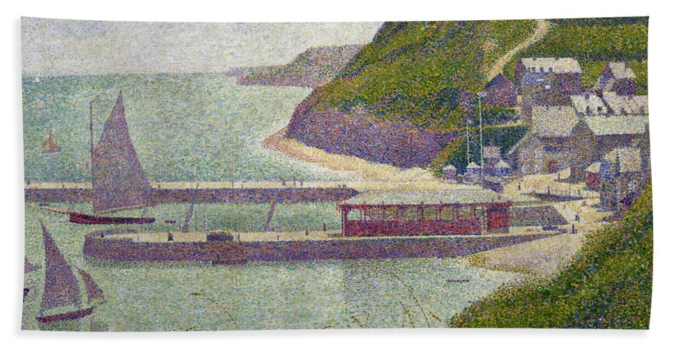 Harbour At Port-en-bessin At High Tide Hand Towel featuring the painting Harbour At Port En Bessin At High Tide by Georges Pierre Seurat
