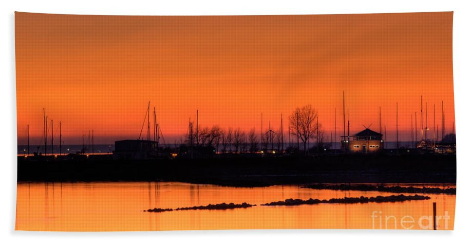 Orange Hand Towel featuring the photograph Harbour I Sunset by Compuinfoto