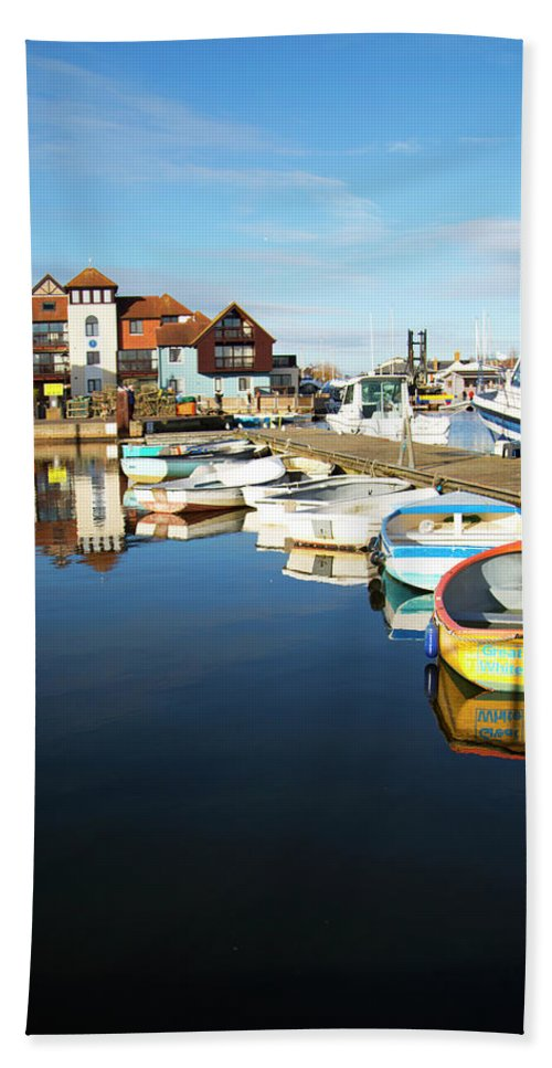 Sea Scape Bath Sheet featuring the digital art Harbour Side by Keith Thain