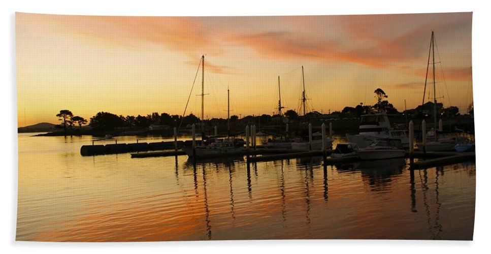 Sunset Bath Sheet featuring the photograph Harbour Sun Set by Kathryn Potempski