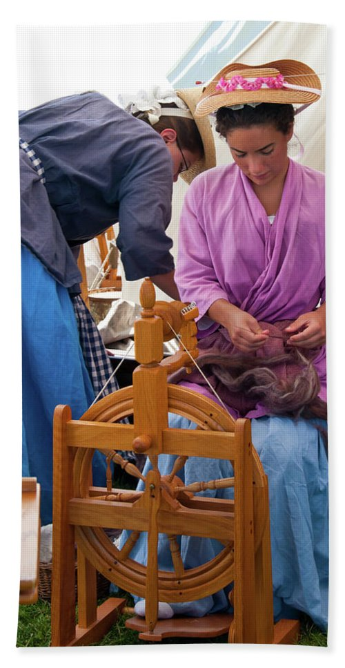 French & Indian War Re-enactor Hand Towel featuring the photograph Hard At Work by Guy Whiteley