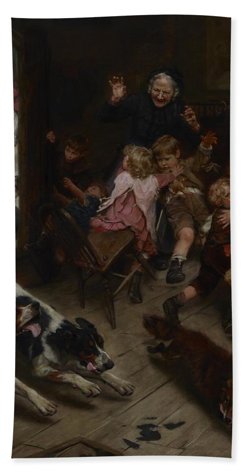 Hard Pressed (any Port In A Storm Hand Towel featuring the painting Hard Pressed by Arthur John Elsley