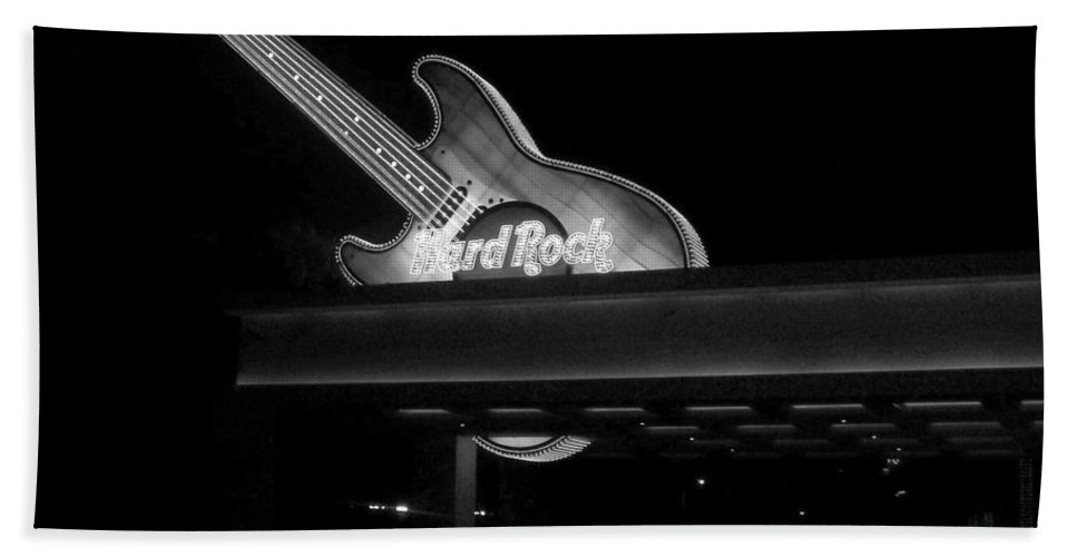 Vegas Hand Towel featuring the photograph Hard Rock Cafe Sign 2 B-w by Anita Burgermeister