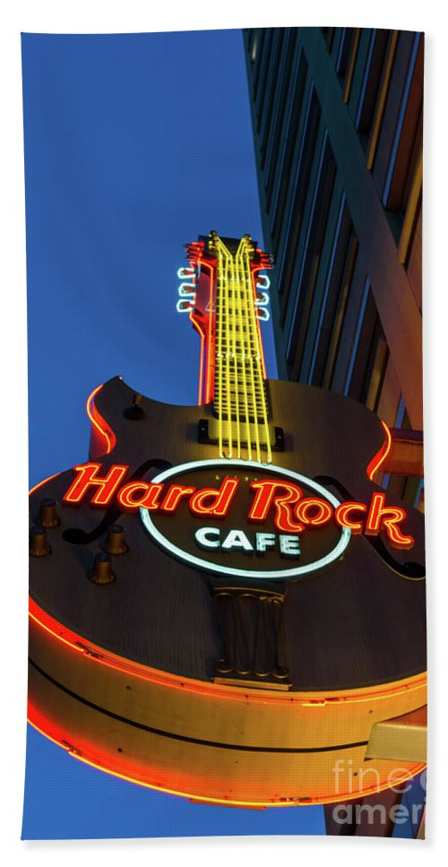 America Hand Towel featuring the photograph Hard Rock Guitar Detroit by Jennifer White