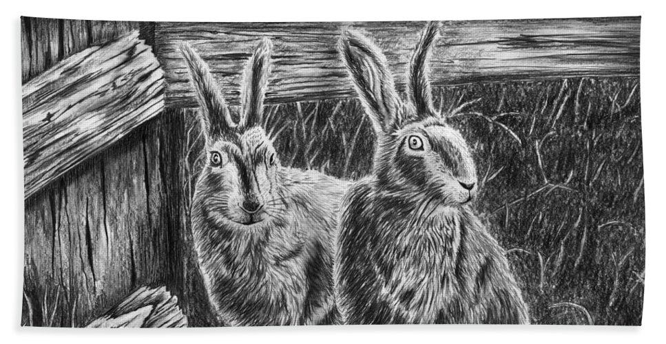 Hare Line Bath Towel featuring the drawing Hare Line by Peter Piatt