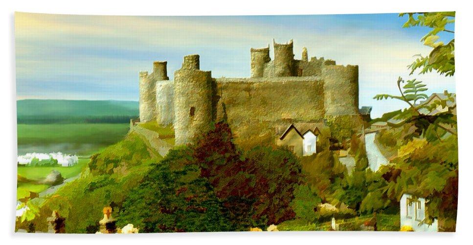 Castles Hand Towel featuring the photograph Harlech Castle by Kurt Van Wagner