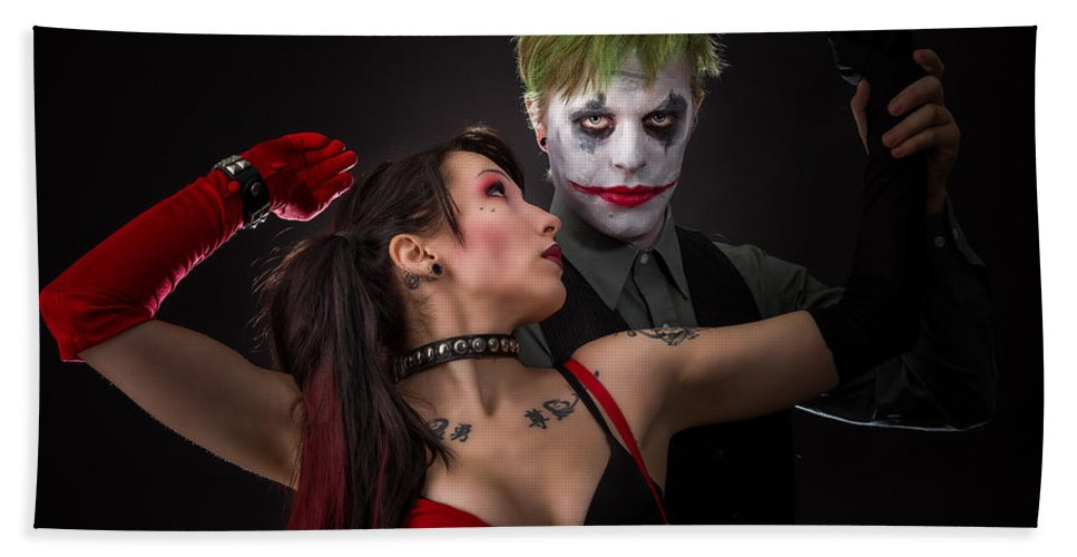 Action Figure Hand Towel featuring the photograph Harley And The Joker by Rikk Flohr