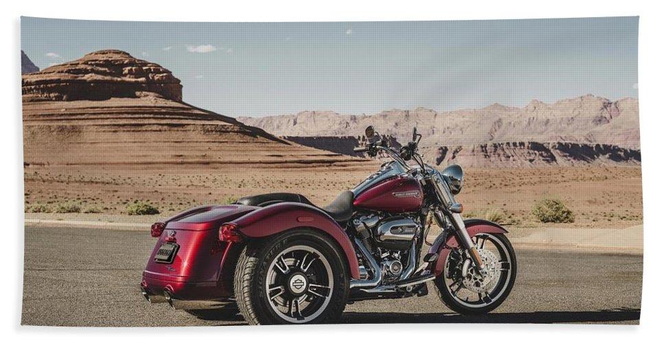 Harley-davidson Freewheeler Bath Towel featuring the digital art Harley-Davidson Freewheeler by Super Lovely
